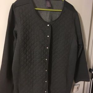 Laura Scott jacket quilted knit 2x Gray Nwt